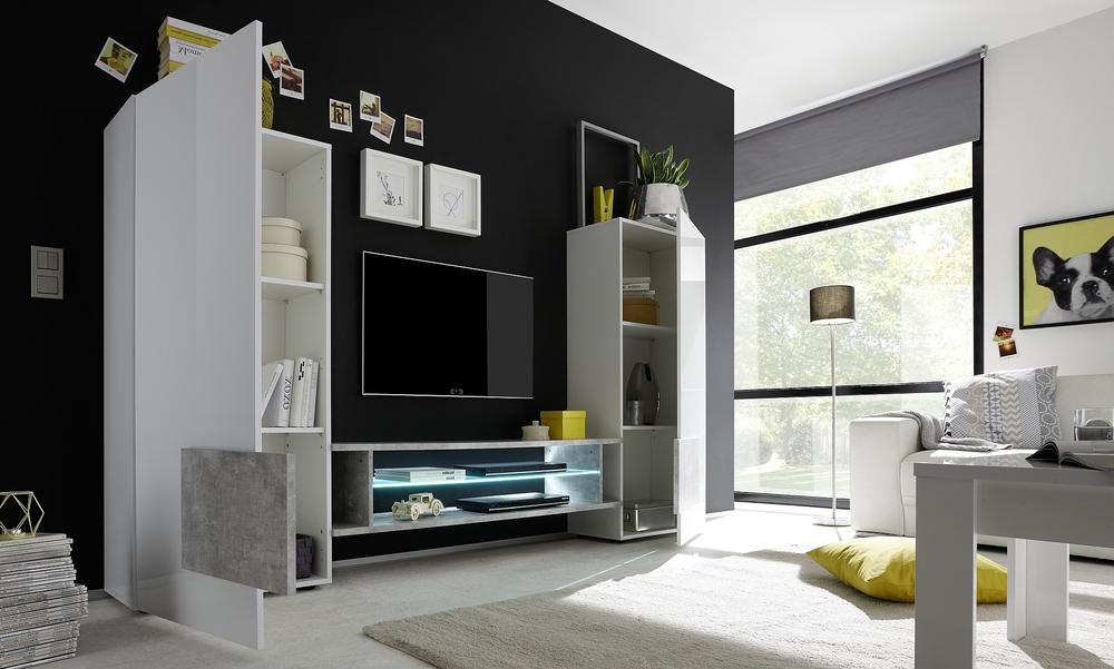 sorriso high tv unit white gloss with grey black natural. Black Bedroom Furniture Sets. Home Design Ideas