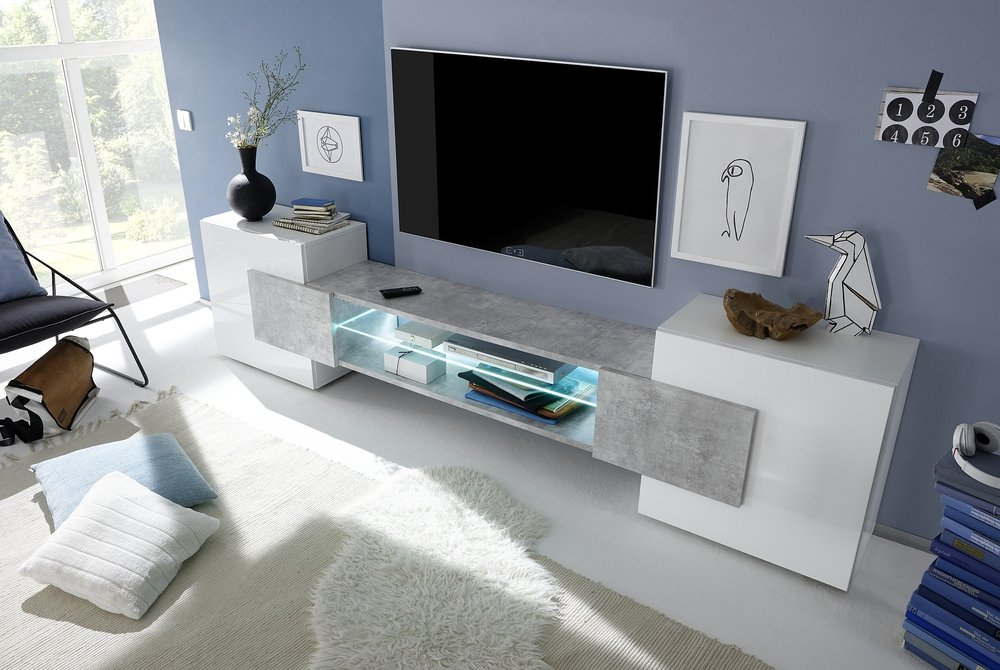 f368fbac7b8 Sorriso Low TV Unit - White Gloss with Grey Black Natural Lacquer ...