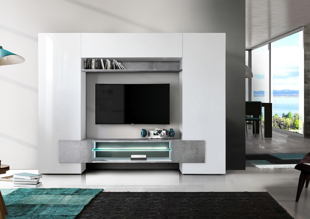 Sorriso Wall Unit White Gloss With Grey Black Natural And