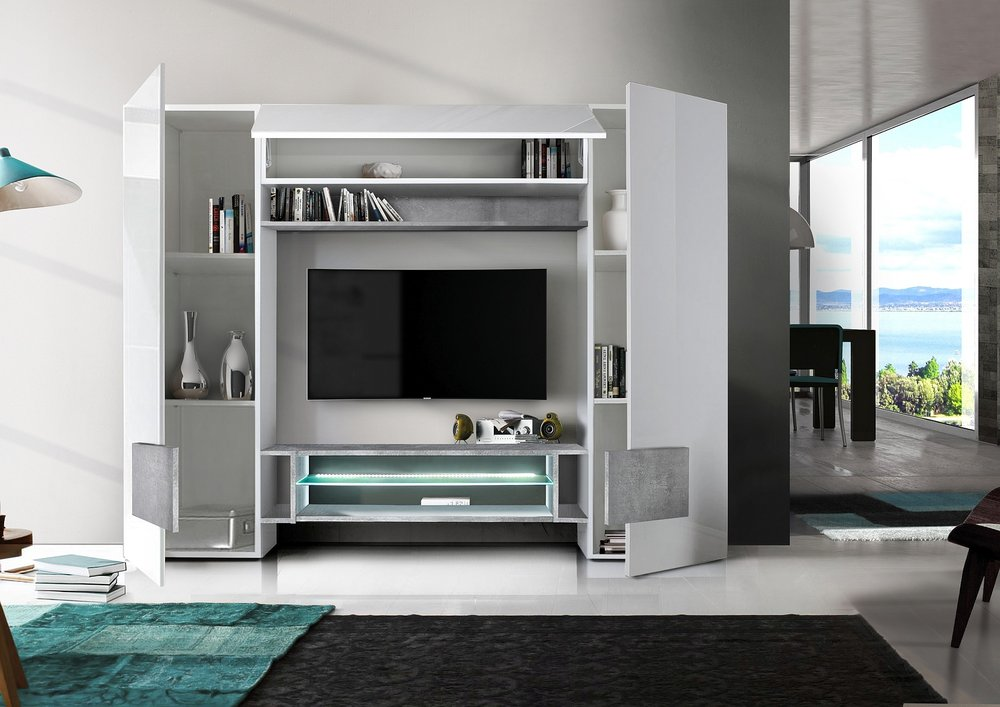 Sorriso Wall Unit White Gloss With Grey Black Natural And Led Lights Tv Amp Media Units