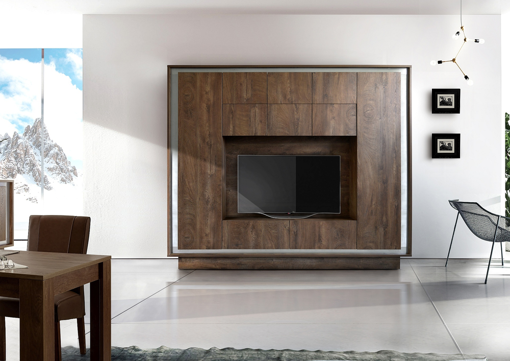Luna Storage And Tv Wall Unit Cognac Finish Tv Amp Media