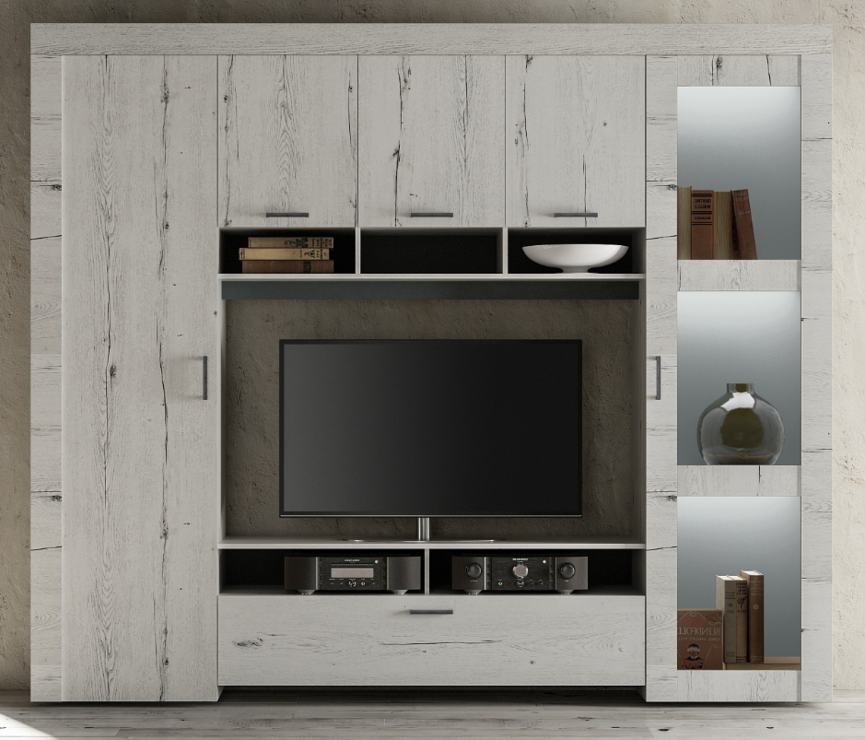Livorno Storage And Tv Wall Unit White Oak Finish With Led
