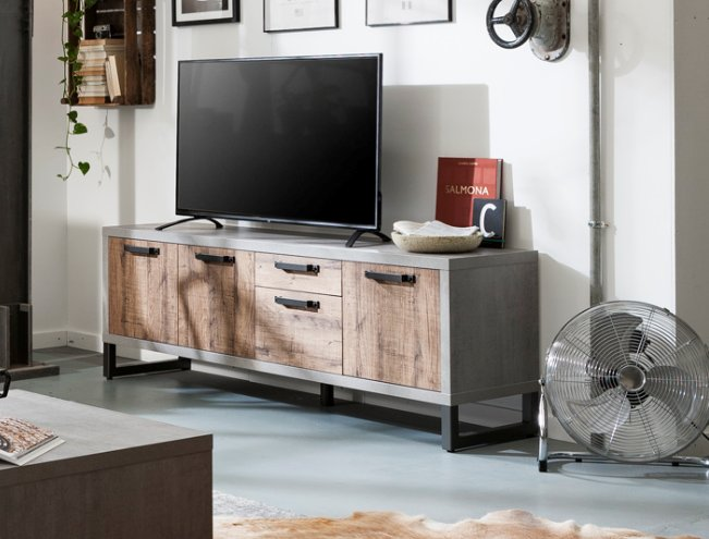 super popular 16f72 642e6 Manhattan Low Sideboard and TV Stand - Grey and New Aged Oak Finish