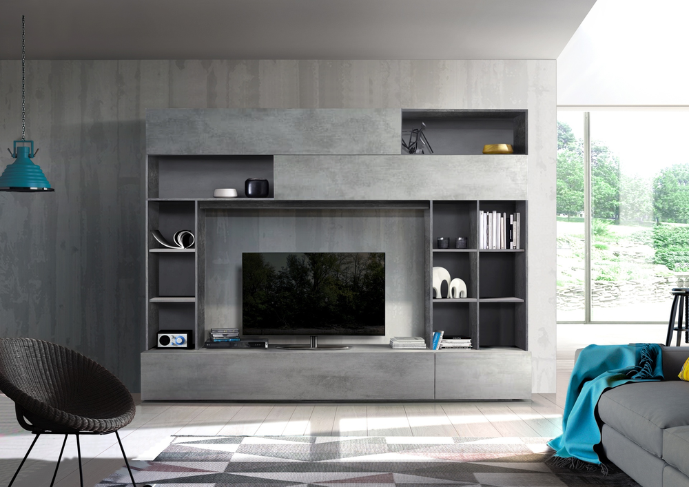 Novara Tv And Wall Storage System Oxide Anthracite And Grey Finish Tv Media Units