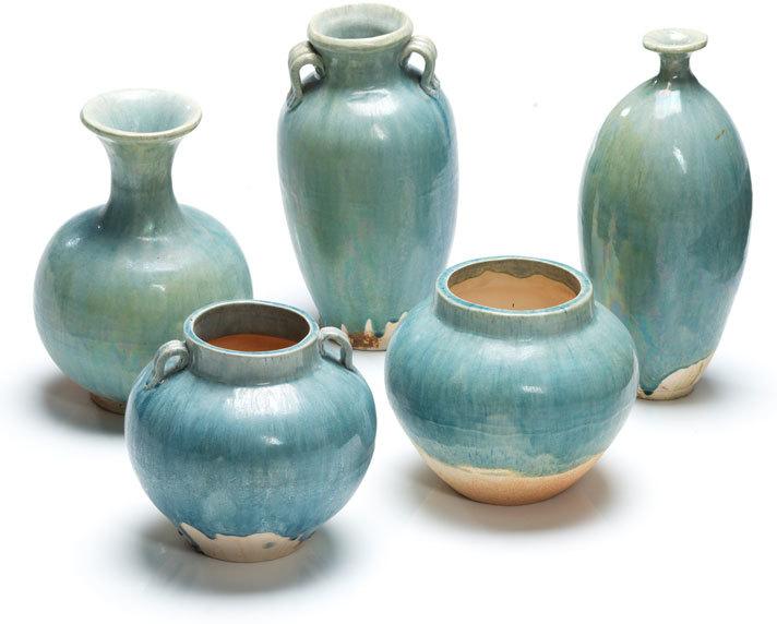 Ceramic Round Vase Pale Blue Vases