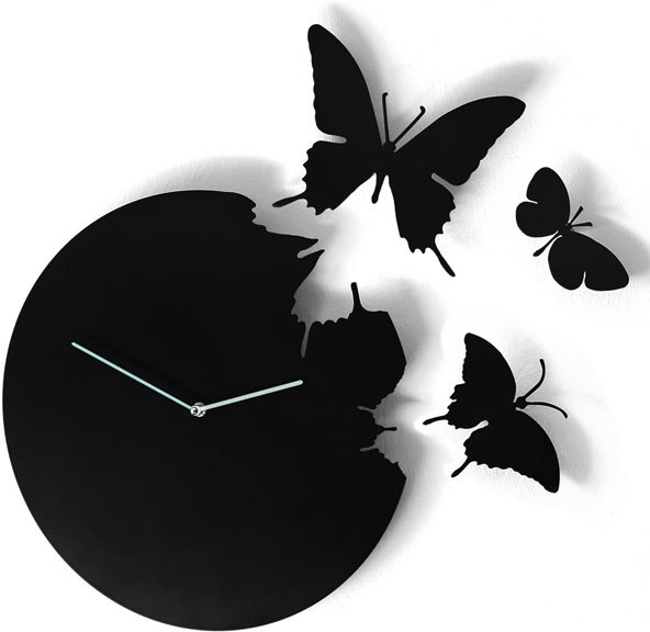 Black Butterfly Clock Wall Clocks
