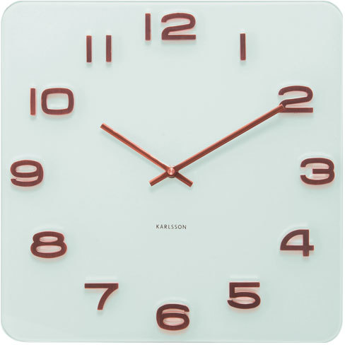 Karlsson Vintage Square Glass Clock - White and Copper ...