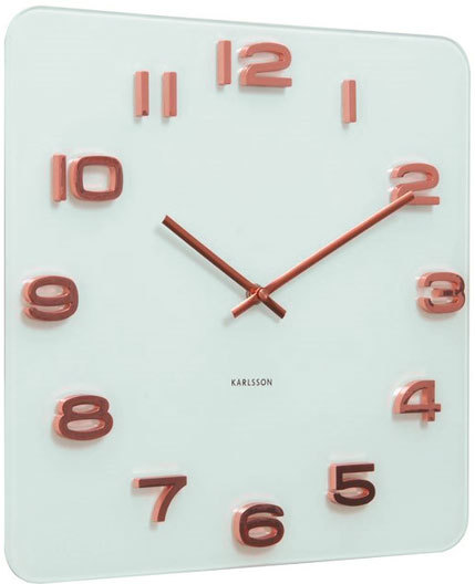 Karlsson Vintage Square Glass Clock White and Copper Wall clocks