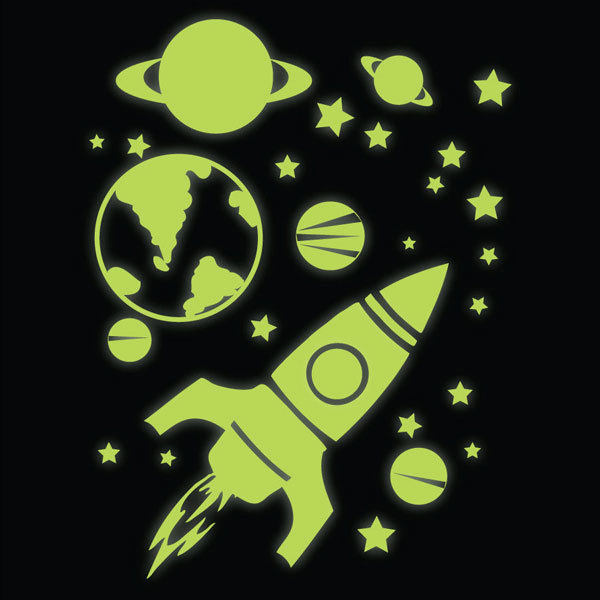 Glow In The Dark Rocket Planets And Stars Wall Stickers