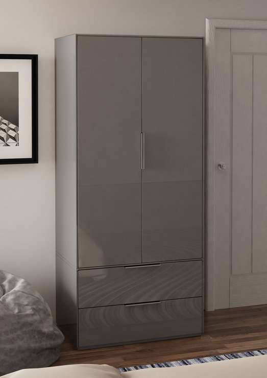 Smart Pure Grey Gloss Wardrobe Wardrobes