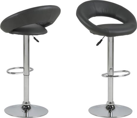 Plump swivel barstool leather adjustable black or white image 3