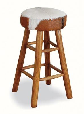 Mohawk Tall Round Goat Hide Bar Stool with Rustic Wood Base image 3