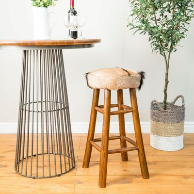 Mohawk Tall Round Goat Hide Bar Stool with Rustic Wood Base image 4