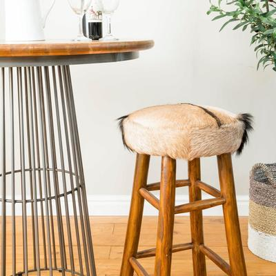 Mohawk Tall Round Goat Hide Bar Stool with Rustic Wood Base image 5