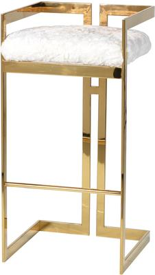 Bar Stool Polished Brass with Furry White Seat