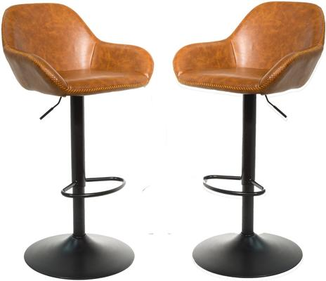 Baxter Tan Brown Faux Leather Gas Lift Bar Stools (set of 2)