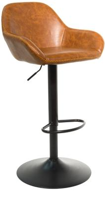 Baxter Tan Brown Faux Leather Gas Lift Bar Stools (set of 2) image 2
