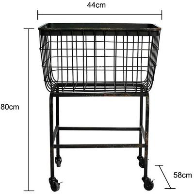 Wheeled Metal Basket Iron Mesh image 2