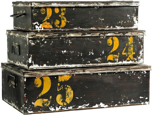 Set of Three Metal Storage Boxes Retro Distressed