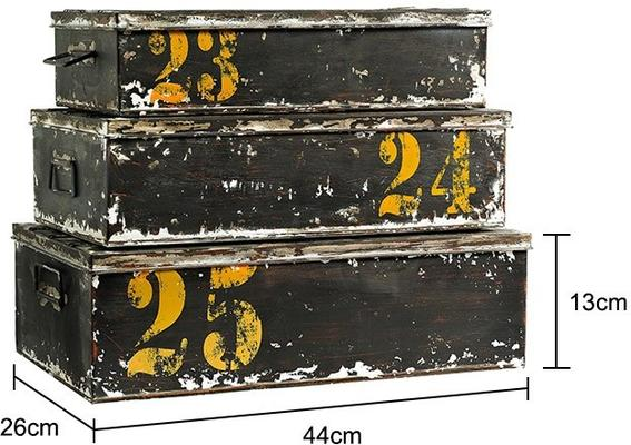 Set of Three Metal Storage Boxes Retro Distressed image 2
