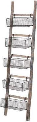 Wooden Ladder with Five Storage Baskets