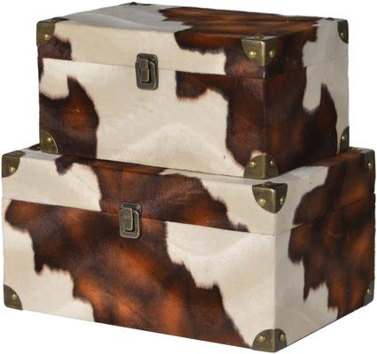 2 x Faux Cowhide Storage Boxes Brown and Cream