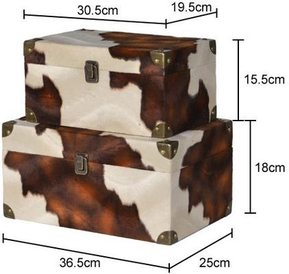2 x Faux Cowhide Storage Boxes Brown and Cream image 2