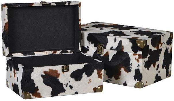 2 x Faux Cowhide Storage Boxes Brown and Cream image 3