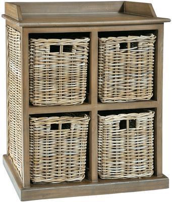 Washed Rattan Four Basket Storage Unit