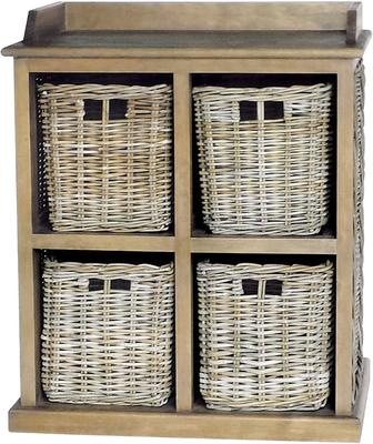 Washed Rattan Four Basket Storage Unit image 2