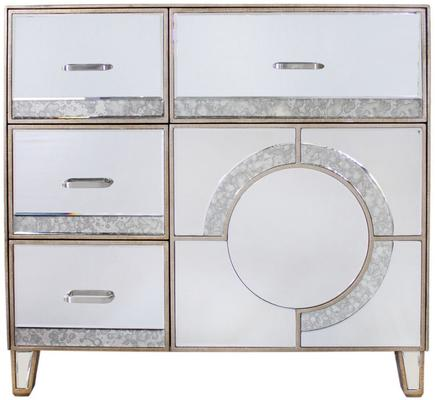 Mirrored Antique Glass Cabinet with Drawers