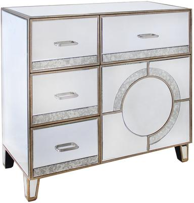Mirrored Antique Glass Cabinet with Drawers image 2