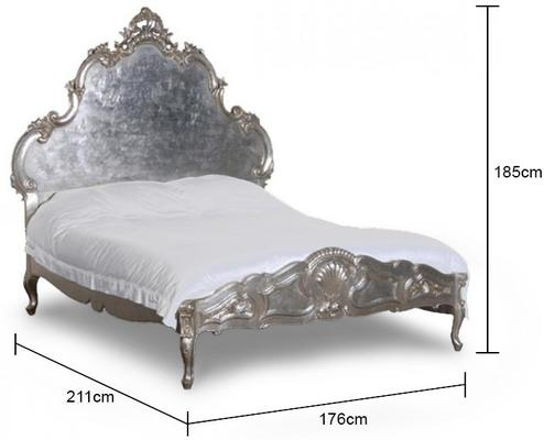 French Silver Rococo Bed 5 ft Carved Headboard image 2