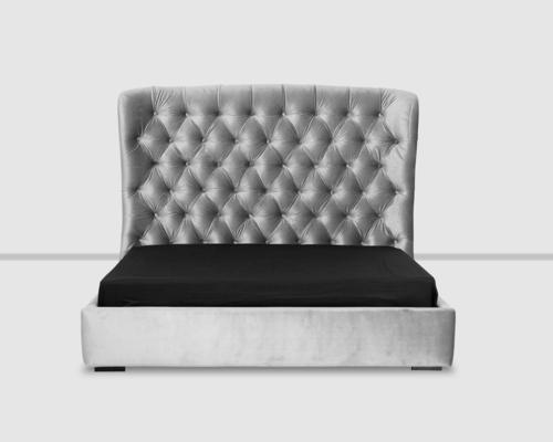 Flavia Upholstered Double Size Taupe Velvet Bed  image 2