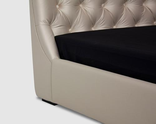 Flavia Upholstered Beige Silk Fabric Double Size Bed image 4