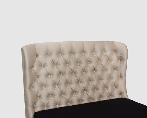 Flavia Upholstered Beige Silk Fabric Double Size Bed image 6