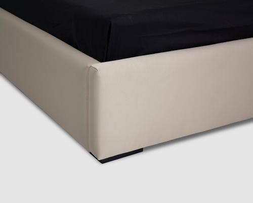 Flavia Upholstered Beige Silk Fabric Double Size Bed image 8