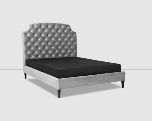 Gretta Botton Taupe Velvet Upholstery Bed image 2