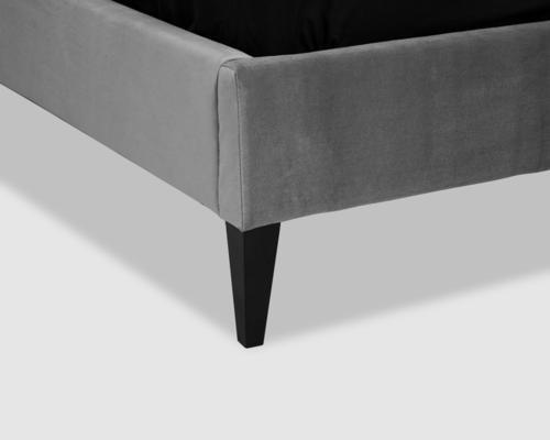 Gretta Botton Taupe Velvet Upholstery Bed image 4
