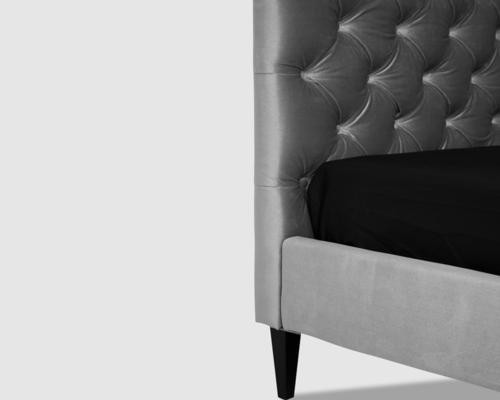Gretta Botton Taupe Velvet Upholstery Bed image 5