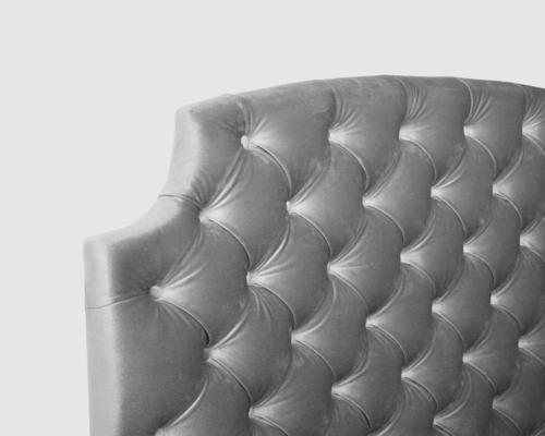 Gretta Botton Taupe Velvet Upholstery Bed image 6