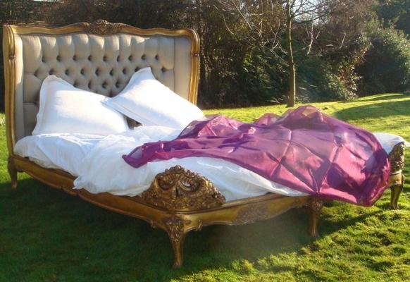 Gold Gilt Mahogany French Bed