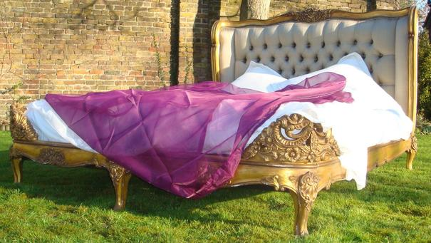 Gold Gilt Mahogany French Bed image 4