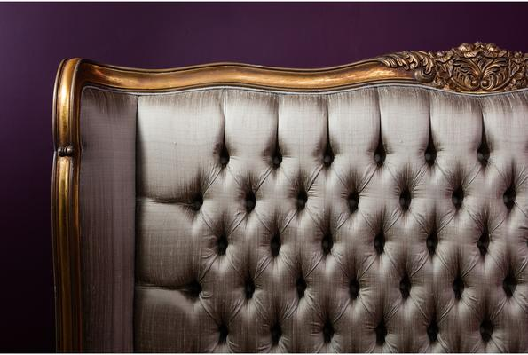 Gold Gilt Mahogany French Bed image 5