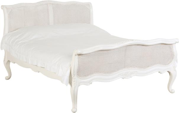 Kingsize Rattan French Bed White