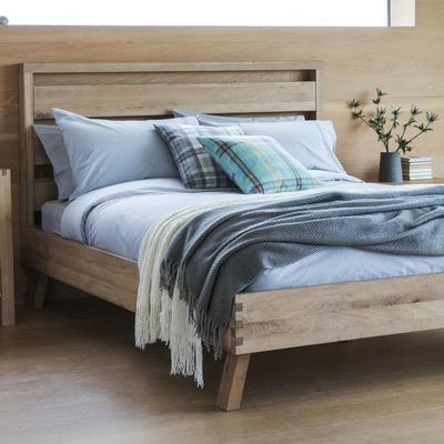 Kielder King Size Simple Wood Bed Solid Oak image 2