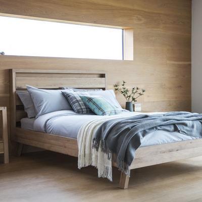 Kielder King Size Simple Wood Bed Solid Oak image 4