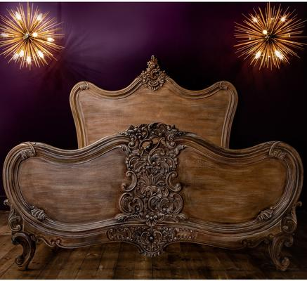 Kingsize French Carved Wooden Bed Rococo