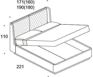 Elysee Crono (Queen) storage bed image 7