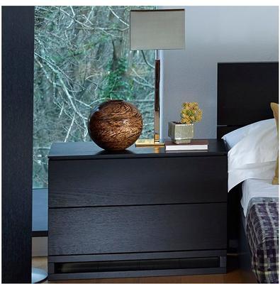 Cordoba Modern Large Bedside Chest Two Drawer - Black Wenge image 2